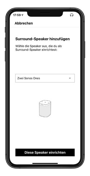 Mockup SONOS APP Surround Lautsprecher auswahl