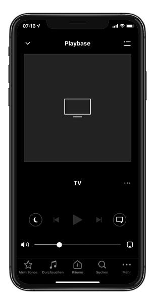 Mockup SONOS App Nachtmodus Sprachverbesserung iOS