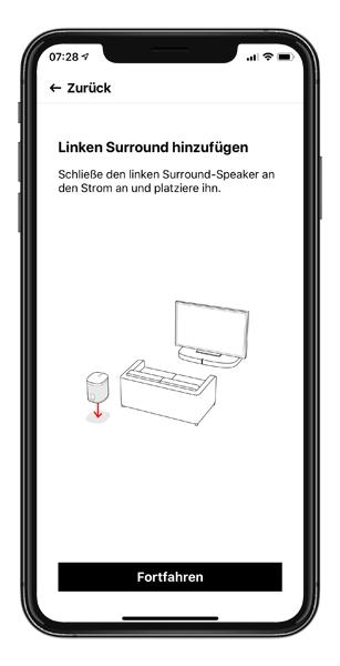 Mockup SONOS App linken Surroud Lautsprecher hinzufuegen