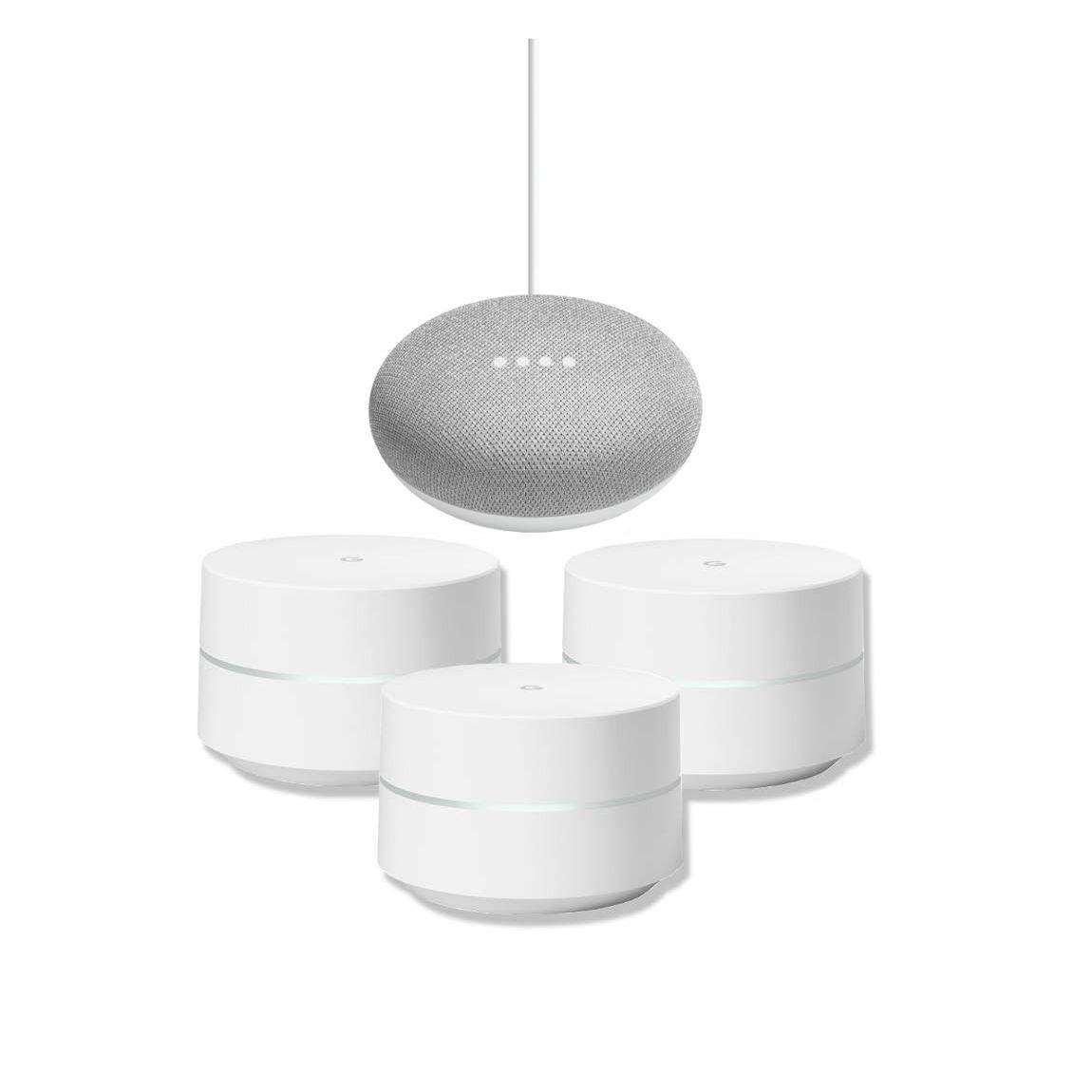 Google Nest Google Wifi Dreierpack + Google Home Mini