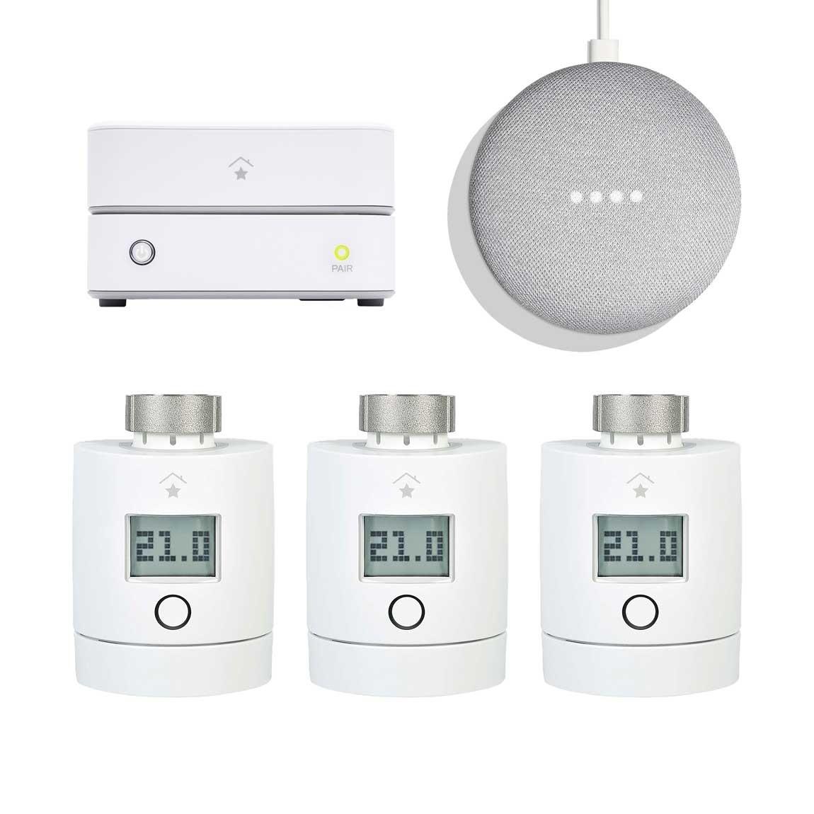 innogy SmartHome Starter Set Heizung mit 3 Thermostaten + gratis Google Home Mini