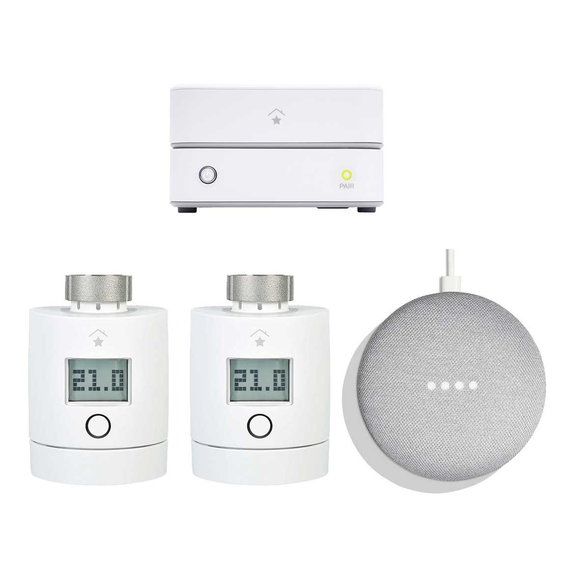 innogy SmartHome Starter Set Heizung mit 2 Thermostaten + gratis Google Home Mini