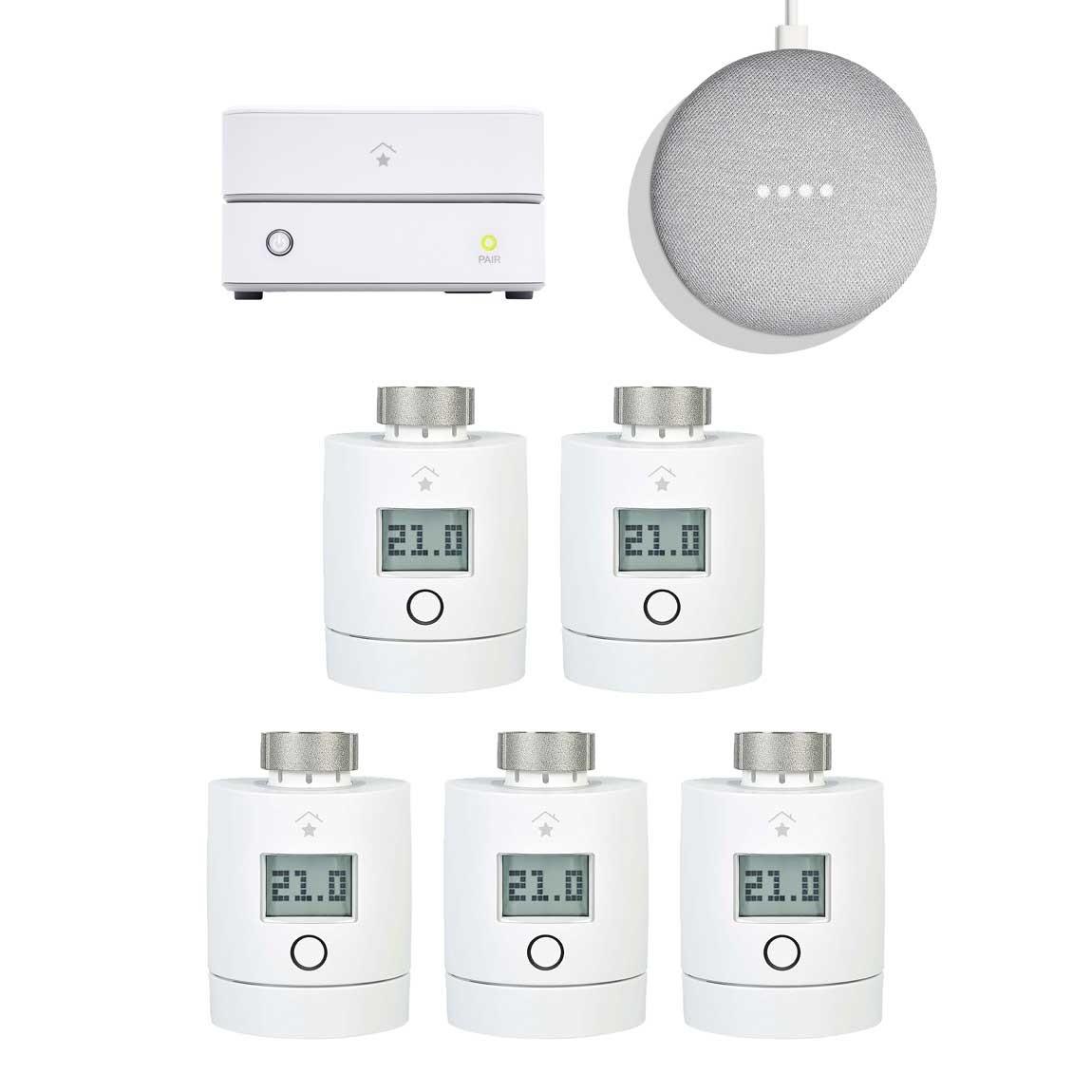 innogy SmartHome Starter Set Heizung mit 5 Thermostaten + gratis Google Home Mini
