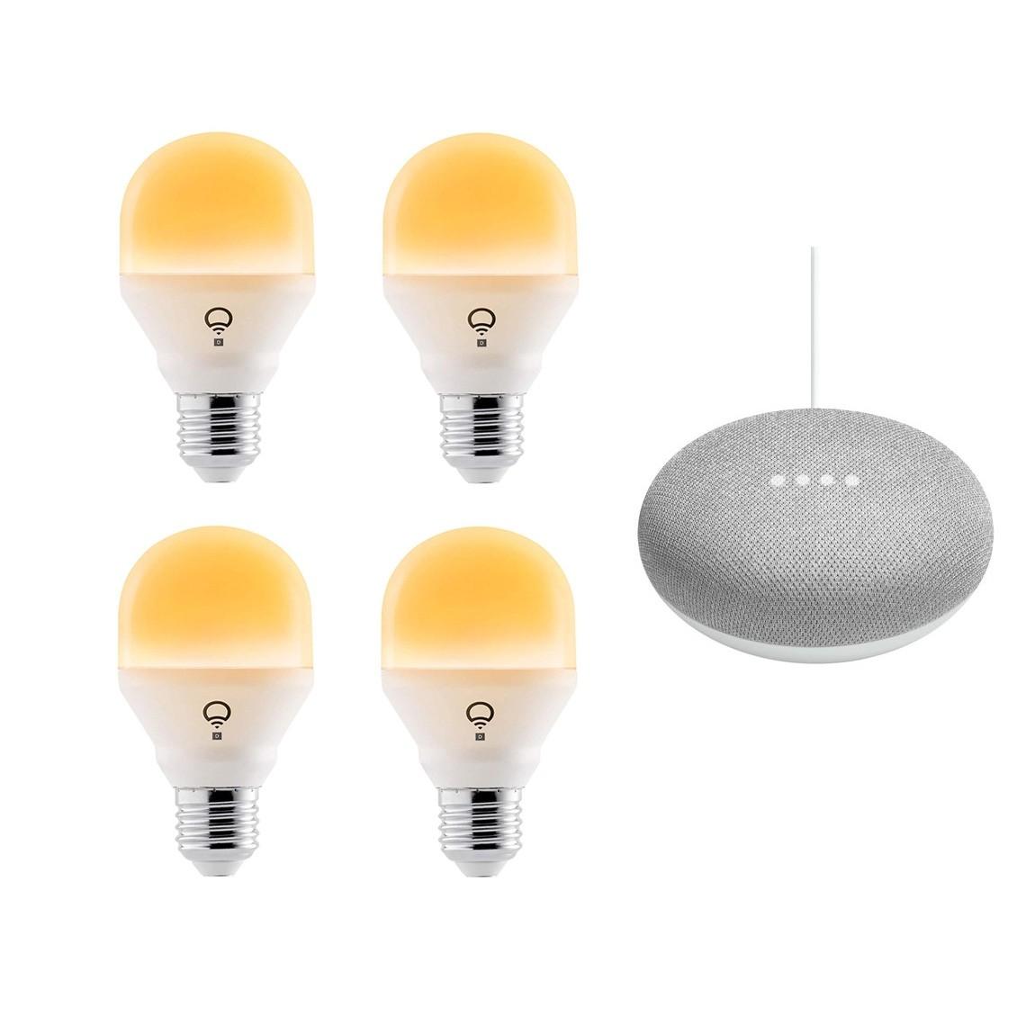 Google Nest, LIFX LIFX Mini Day & Dusk WLAN Glühbirne - 4er Set, E27+ Google Home Mini